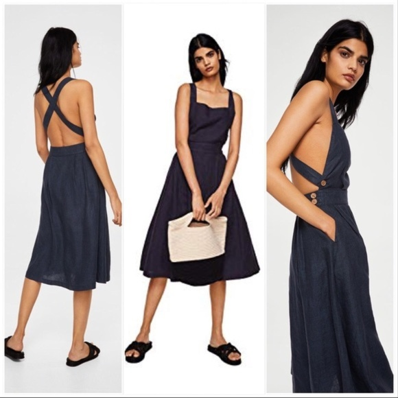 Mango Linen Blend Midi Dress e5ce9c1cd